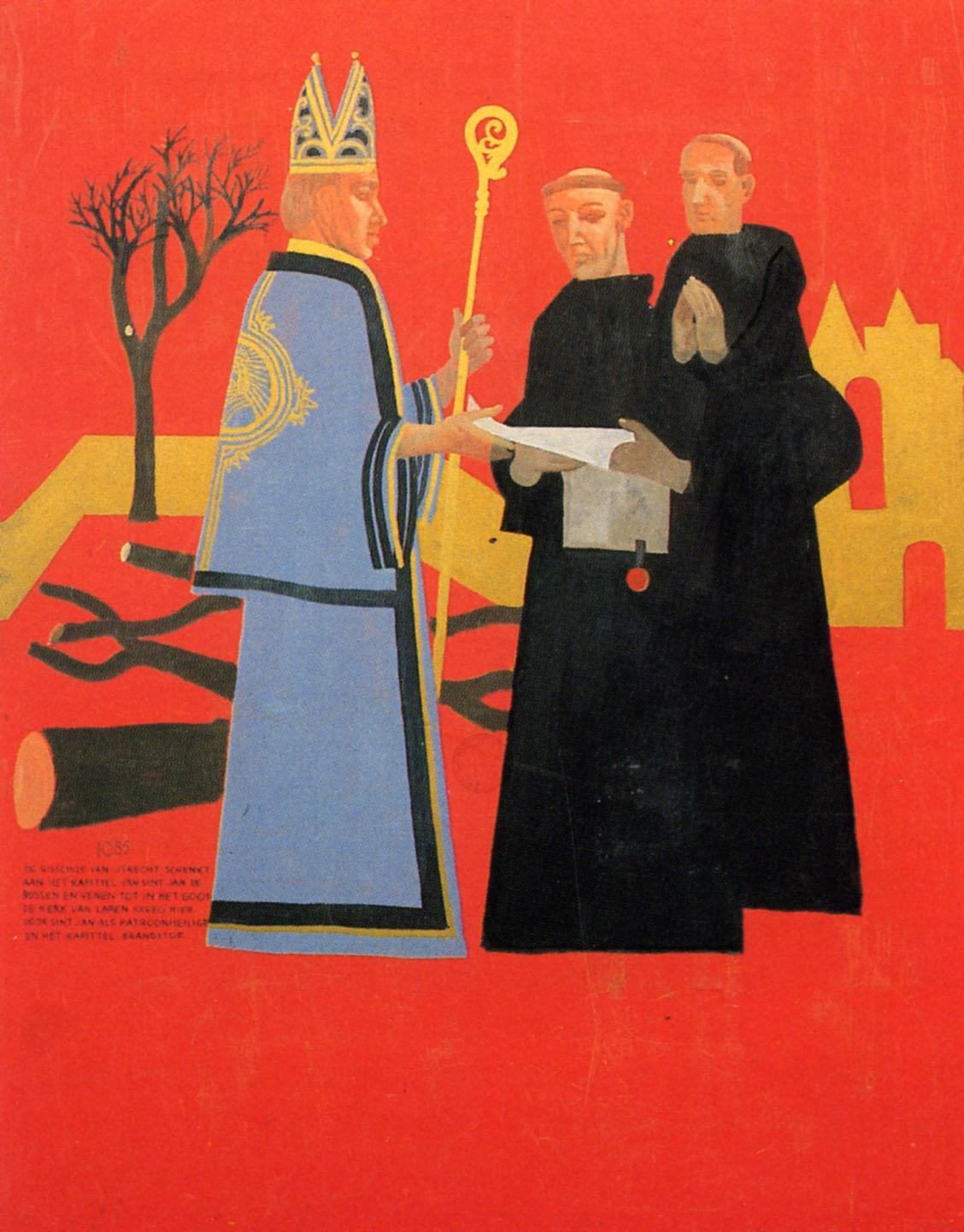 Paneel 2 (1085): de Bisschop van Utrecht schenkt aan het kapittel van Sint Jan de bossen en venen tot in het Gooi; de kerk van Laren kreeg hierdoor Sint Jan als patroonheilige en het kapittel brandstof.