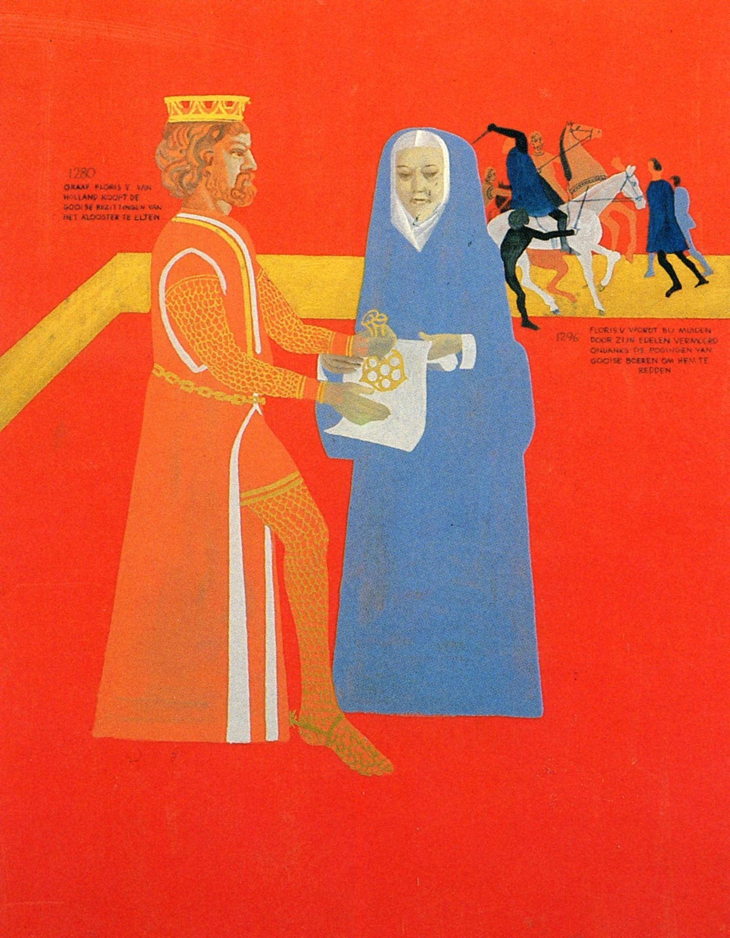 Paneel 3 (1280): Graaf Floris V van Holland koopt de Gooise bezittingen van het klooster te Elten.